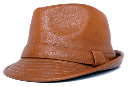 Mens Cognac PU Leather Stingy Brim Hat Bruno FD-284 Size L/XL