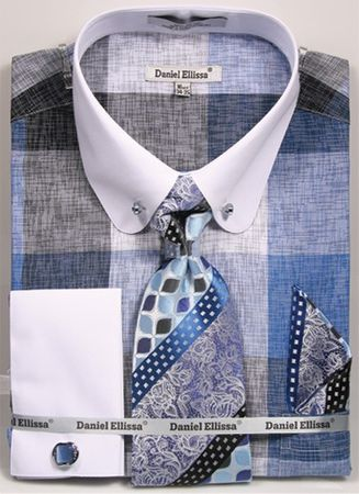 Mens Collar Bar Dress Shirt Tie Set Blue Square DS3791P2-tiles - click to enlarge
