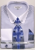 Men's Round Collar Bar Dress Shirt Tie Hanky Blue Stripe DS3791P2-stripe