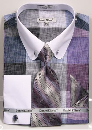 Mens Rounded Collar Dress Shirt Tie Combo Lavender Square DS3791P2-tiles - click to enlarge