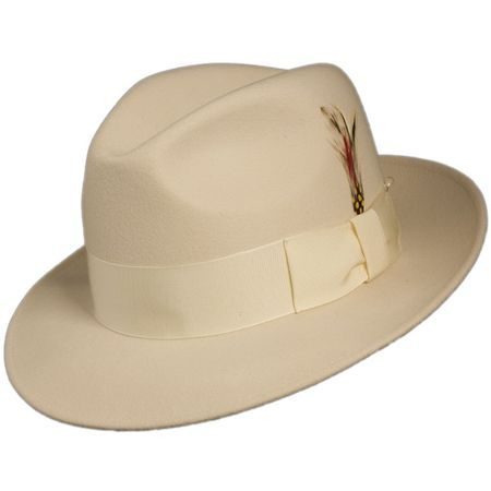 Mens Cream Fedora Hat 100% Wool Untouchable Dress Hat 8345 - click to enlarge