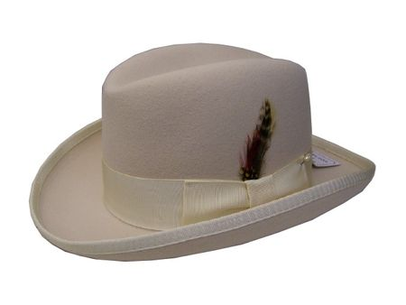 Mens Cream Godfather Hat 100% Wool Homburg Dress Hat 4201