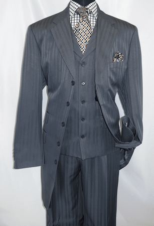 Mens Dark Gray 1940s Zoot Suit Shadow Type Stripe Vested Fortino 29198 - click to enlarge