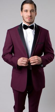 Mens Designer Burgundy Slim Fit Peak Lapel Tuxedo Tazio MT187S-08