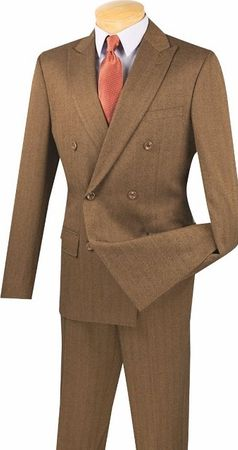 Men's Designer Double Breasted Herringbone Taupe Slim Fit Suit SDHB-1 - click to enlarge