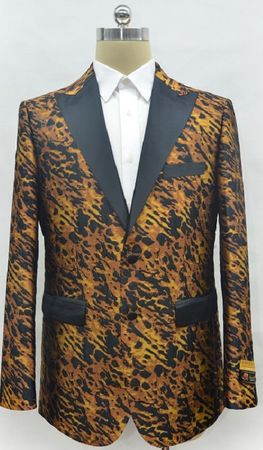Mens Leopard Print Pattern Dinner Modern Fit Jacket Alberto Fashion-1#