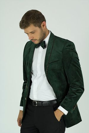 Mens Designer Green Velvet Blazer KNY Size 4XL Final Sale