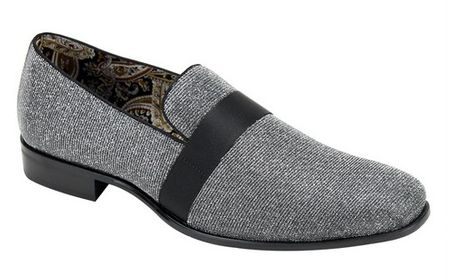 Mens Designer Gunmetal Grey Tux Smoker Loafers Slip On AM 6660