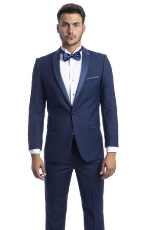 Mens Designer Cobalt Blue Slim Fit Tuxedo Peak Lapel Tazio MT187S-10