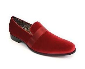 Mens Designer Red Velvet Tuxedo Loafers Slip On AM 6660 Size 9.5, 10