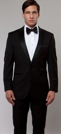 Mens Designer Slim Fit Black Peak Lapel Tuxedo Tazio MT182S-01