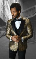 Mens Designer Modern Fit Fashion Suit Gold Trendy Tux Statement Bellagio-4