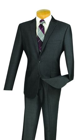 Men's Designer Slim Fit Suit 2 Piece Smoke Gray Texture S2RK-7