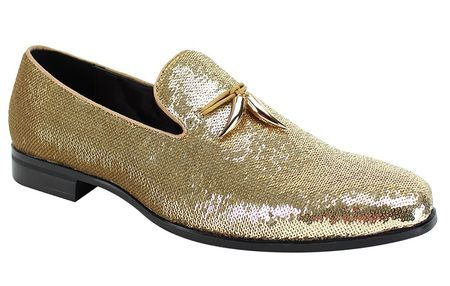 Mens Designer Slip On Shoes Gold Sequin After Midnight 6759 Size 10,10.5