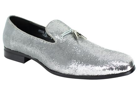 Mens Designer Slip On Shoes Silver Sequin After Midnight 6759