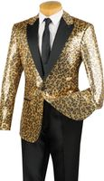 Mens Designer Tuxedo Dinner Jacket Gold Leopard Sequin BSQ-2 IS