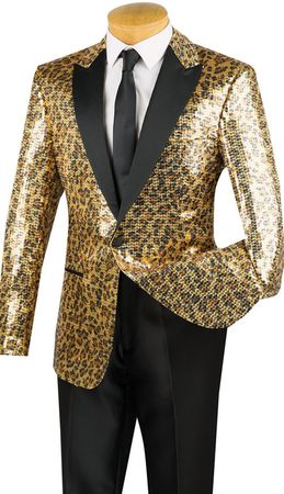 Mens Designer Modern Fit Tuxedo Dinner Jacket Gold Leopard Sequin BSQ-2 Size S