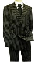 Mens Double Breasted Gangster Stripe Suit Stacy 5264-000 IS