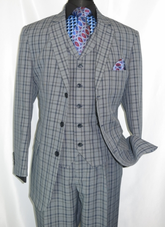 3 Button 3 Piece Suit Mens Navy Plaid 1920s Fortino 5802V6 Size 52 Reg 56 Long Size 46R Final Sale - click to enlarge