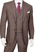 1920s Vintage Style Suit for Men Cedar Brown Plaid 3 Piece F62SQ Size 44 Reg Final Sale