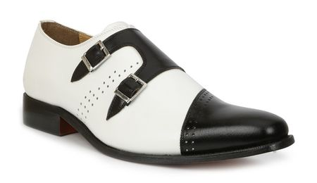 Mens Double Buckle Leather Shoes Black White Giorgio Brutini 200131-6 IS - click to enlarge