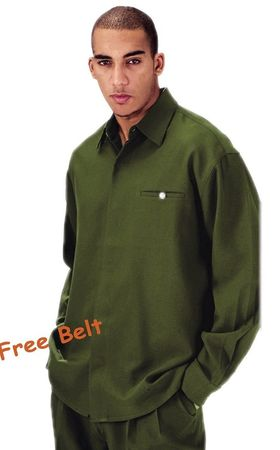 Mens Dress Outfits Olive Green Long Sleeve Milano L2612 - click to enlarge
