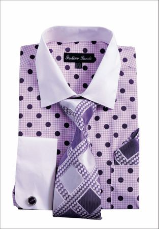Mens Dress Shirt Matching Tie Set Purple Dot Fortini FL632