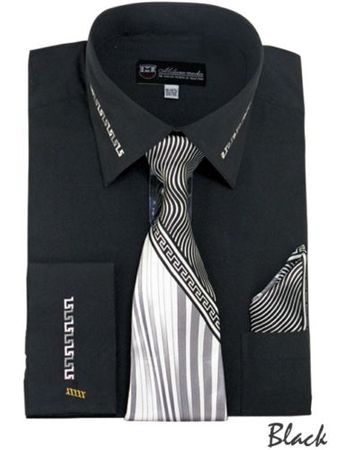 Mens Dress Shirt Tie Puff Set Black Embroider Cuff Collar SG35