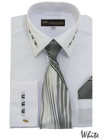 Mens Dress Shirt Tie Puff Set White Embroider Cuff Collar SG35