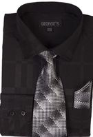 Mens Dress Shirt with Matching Tie and Hanky Black George AH623 Size 17.5 36/37 Final Sale