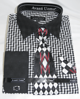 Mens Dress Shirt with Matching Tie and Hanky Fancy Black DN76M