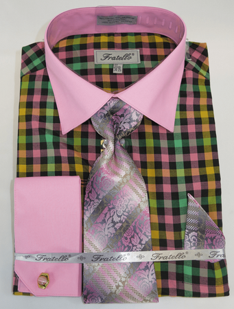 Mens Dress Shirt with Matching Tie and Hanky - Rose Pink Plaid Fratello FRV4139P2 - click to enlarge