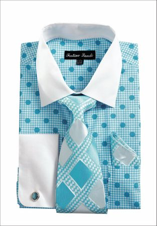 Mens Dress Shirt with Tie Set Turquoise Dot Fortini FL632