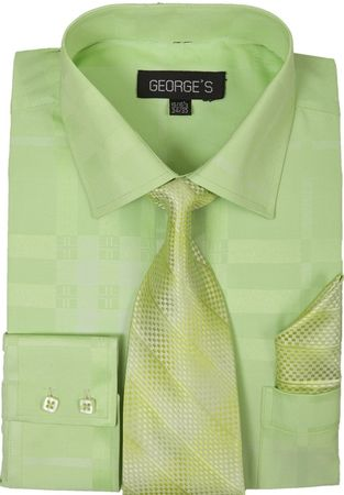 Mens Dress Shirt with Matching Tie and Hanky Green George AH623