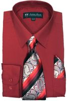 Mens Dress Shirts Tie Set Red Color Long Sleeve Fortini SG21B