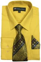 Mens Dress Shirts Tie Set Gold Color Long Sleeve Fortini SG21B
