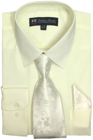 Mens Dress Shirts Tie Set Cream Bone Long Sleeve Fortini SG21B