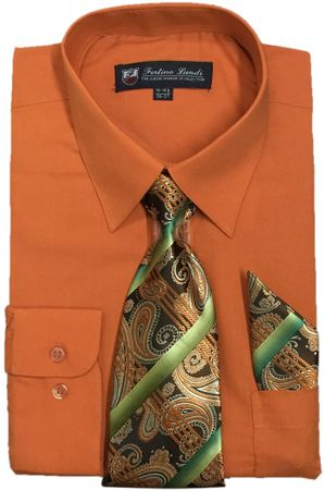 Mens Dress Shirts Tie Set Orange Color Long Sleeve Fortini SG21B