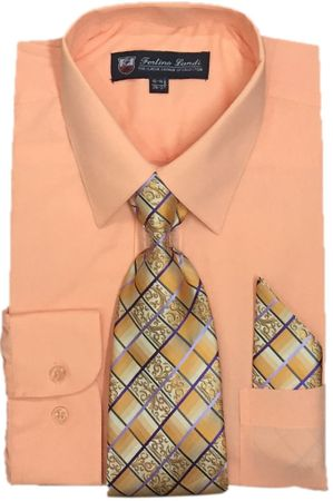 Mens Dress Shirts Tie Set Peach Color Long Sleeve Fortini SG21B