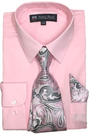 Mens Dress Shirts Tie Set Pink Color Long Sleeve Fortini SG21B