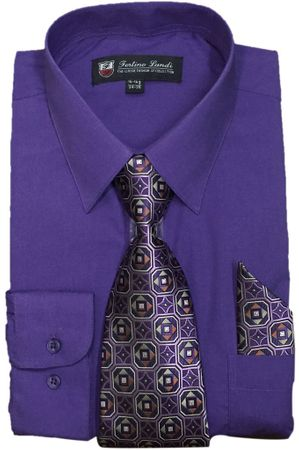 Mens Dress Shirts Tie Set Purple Color Long Sleeve Fortini SG21B