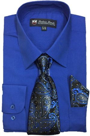 Mens Dress Shirts Tie Set Royal Blue Color Long Sleeve Fortini SG21B
