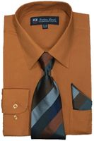 Mens Dress Shirts Tie Set Rust Color Long Sleeve Fortini SG21B