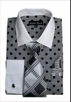 Mens Dress Shirts with Tie Sets Black Dot Pattern Fortini FL632