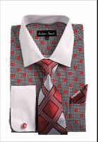 Mens Dress Shirts with Tie Sets Red Dot Pattern Fortini FL632