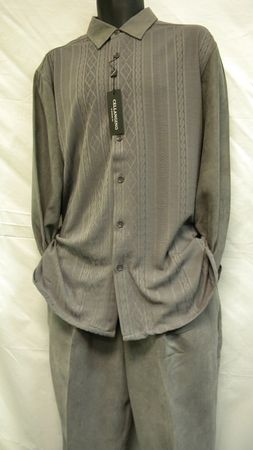 Mens Micro Suede Walking Suits Grey Knit Set SP1302