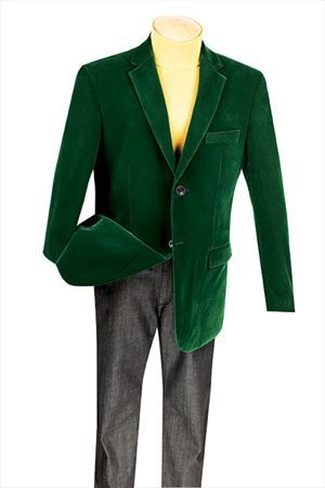 Mens Emerald Green Velvet Blazer 2 Button Regular Fit Vinci B-19