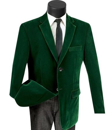 Mens Emerald Green Velvet Blazer Jacket Sport Coat 2 Button Vinci B-27