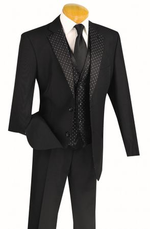 Mens Fancy Black Wedding Suit 3 Piece Vinci 23PD-2 - click to enlarge
