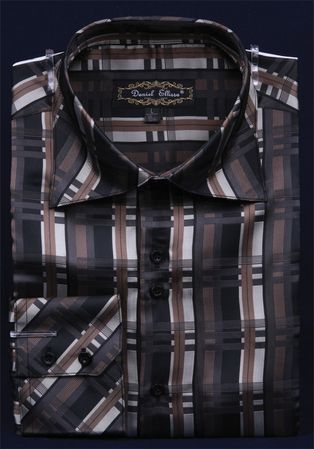 Mens High Collar Fashion Shirts Shiny Black Pattern DE FSS1410 - click to enlarge